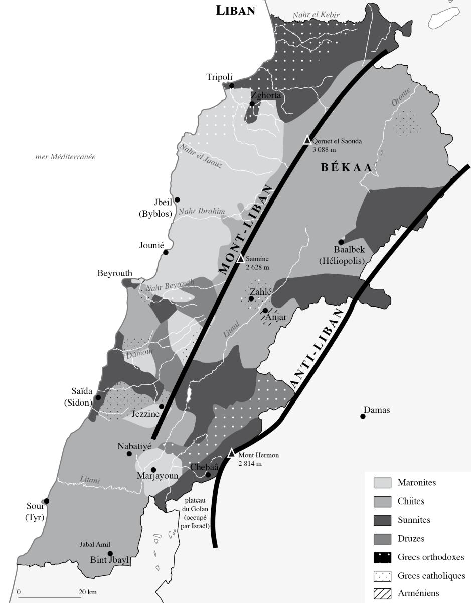 """Résultat de recherche d'images pour """"carte confessionnelle liban"""""""