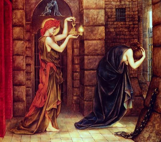 Evelyn de Morgan, Hope in a Prison of Despair (1887), Huile sur panneau (68x55), coll. particulière, domaine public